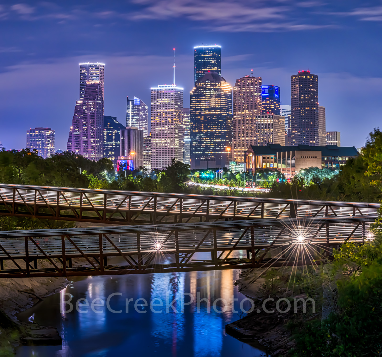 Houston skyline, Rosemont, pedestrian bridge, pano, panorama, buffalo Bayou, downtown,night, city, parks, cultural events, theater district, sports, music, events, performing arts, art groups, opera, , photo