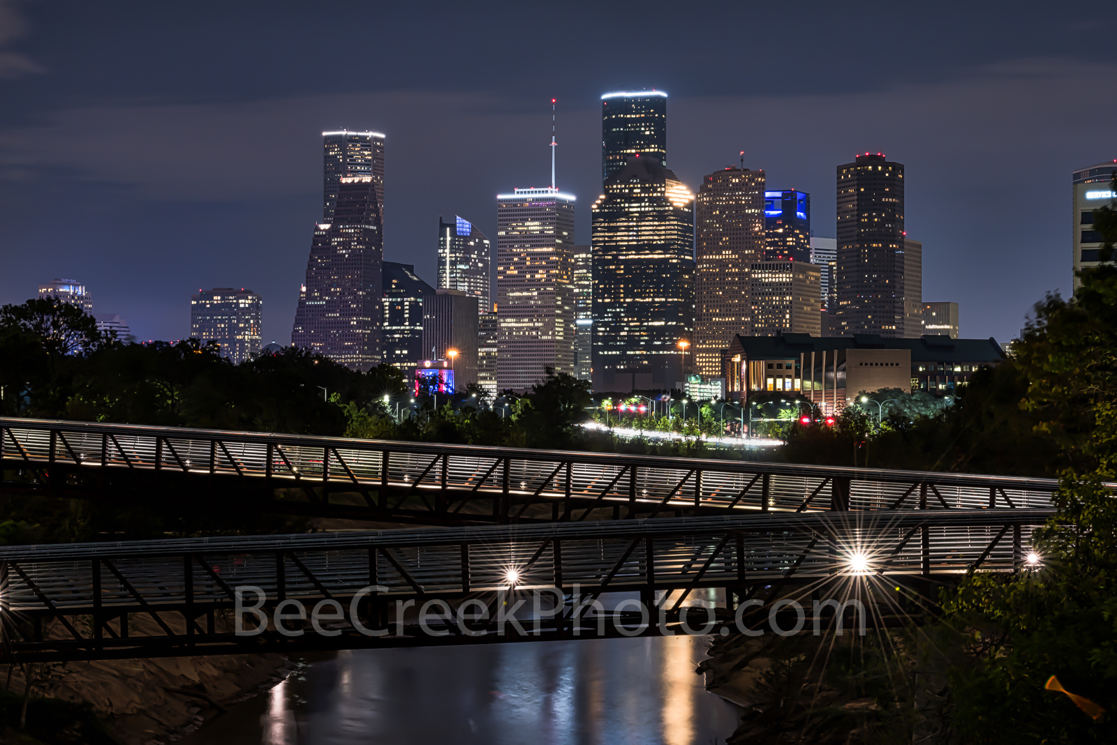 Houston skyline, Rosemont, pedestrian bridge, buffalo Bayou, downtown,night, city, parks, Houston stock, images of houston, , photo