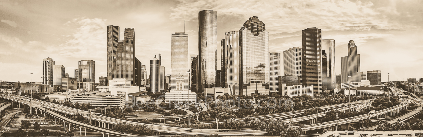 Houston, skyline, sunset, freeway. aerial, city, skyscrapers, high rise, building, pano, panorama, clouds, orange, pinks, yellows, modern, architecture, Texas, Buffalo Bayou, , photo