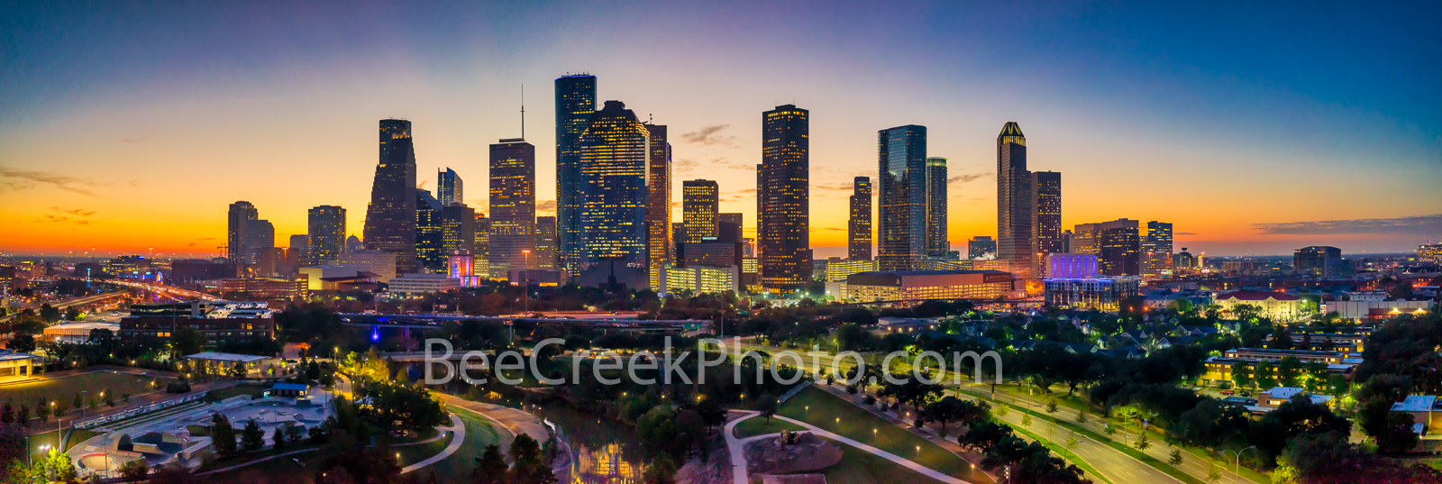 Houston skyline, Houston skyline pictures,  Houston skyline sunrise, Houston, glow,  sunrise, aerial, pano, panorama, Buffalo Bayou, skylines, Houston cityscape, cityscapes, downtown, reflections, pic, photo