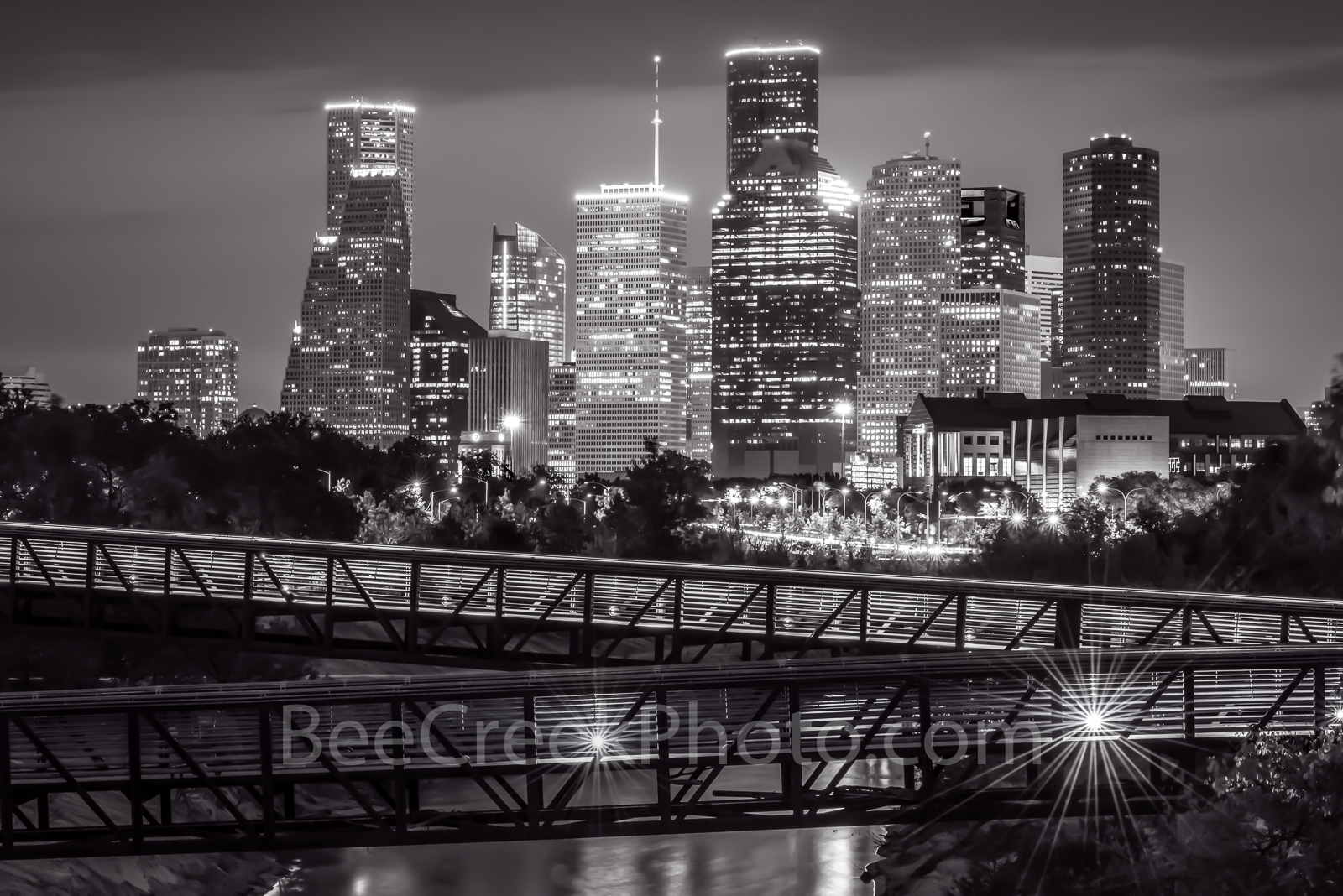 houston skyline, rosemont, pedestrian bridge, buffalo bayou, black and white, BW, downtown,night, city, parks, cultural events, theater district, sports, music, events, performing arts, art groups, op, photo