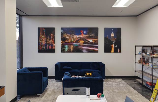 """3 large Canvas wrap prints at a client office break room in San Antonio Texas,  2 vertical prints 48""""x32"""" and 1 72""""x48"""" in the..."""