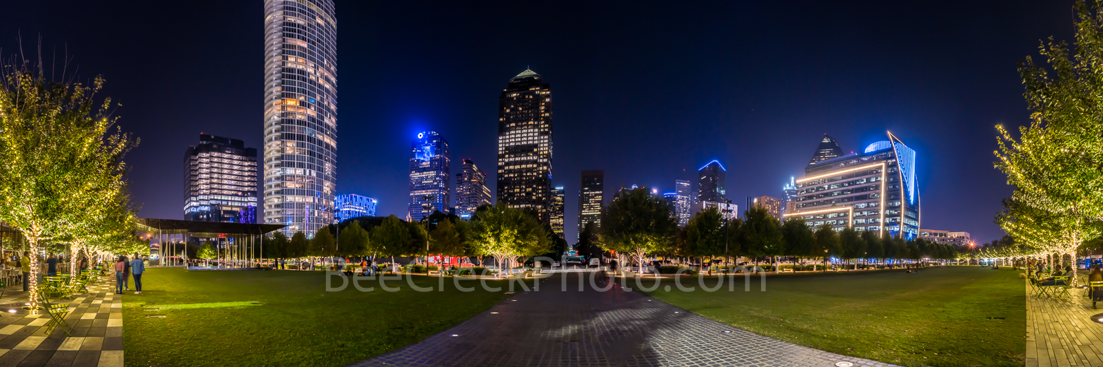 Dallas skyline, Klyde Warren Park skyline, night, panorama, pano, trees lighted, art district, Woodall Rodgers freeway, cityscape, skyscrapers, Chase Tower, Hunt Oil Building, children play area, dog