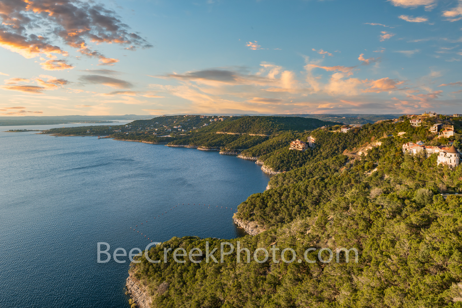 Lake Travis Hill Side View - A hill side view of lake travis from above.  This images captures the shoreline of lake travis from...