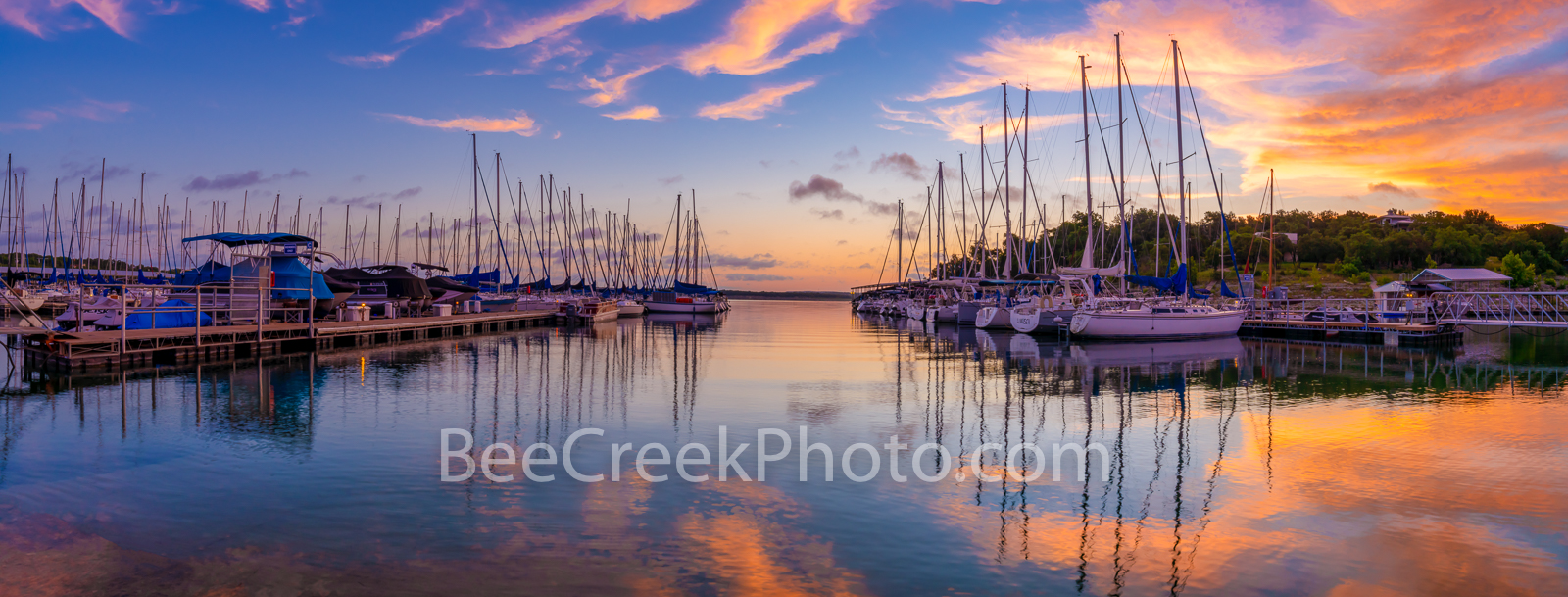Lake Travis Sunrise Pano  - We capture the sunrise over this marina on Lake Travis outside of Austin in the Texas hill country...