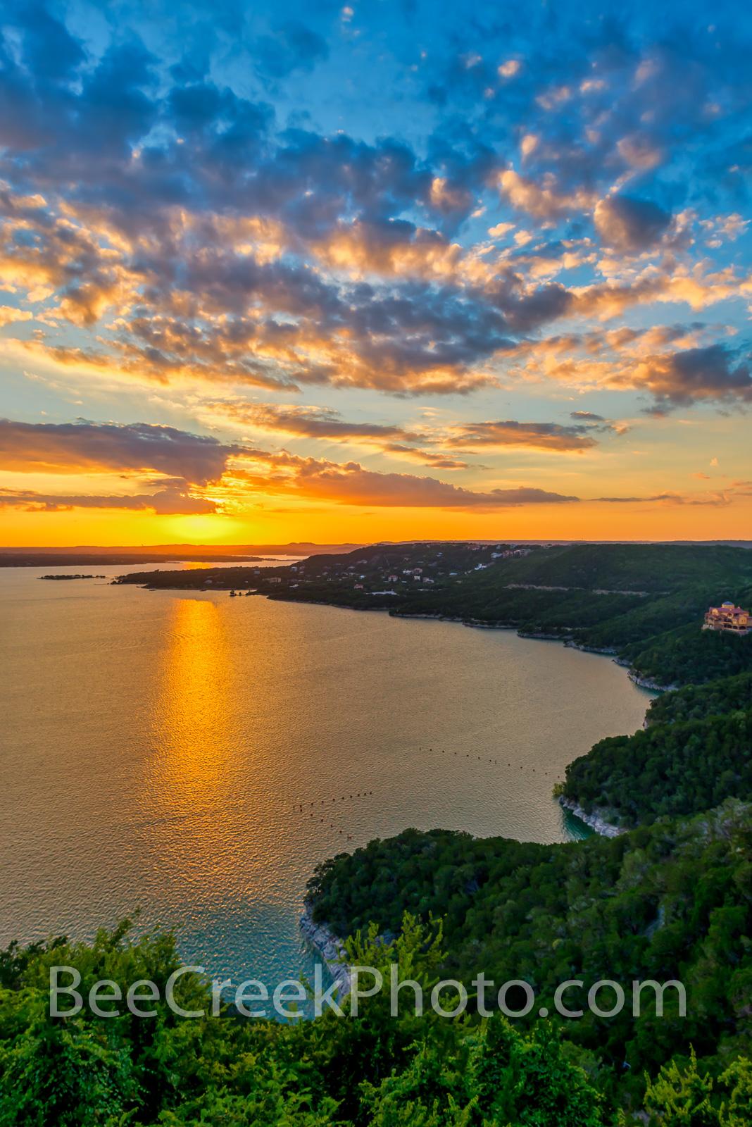 Lake Travis Sunset Vertical - A vertical capture of the sunset over lake travis.  Lake Travis is a popular destination for tourist...