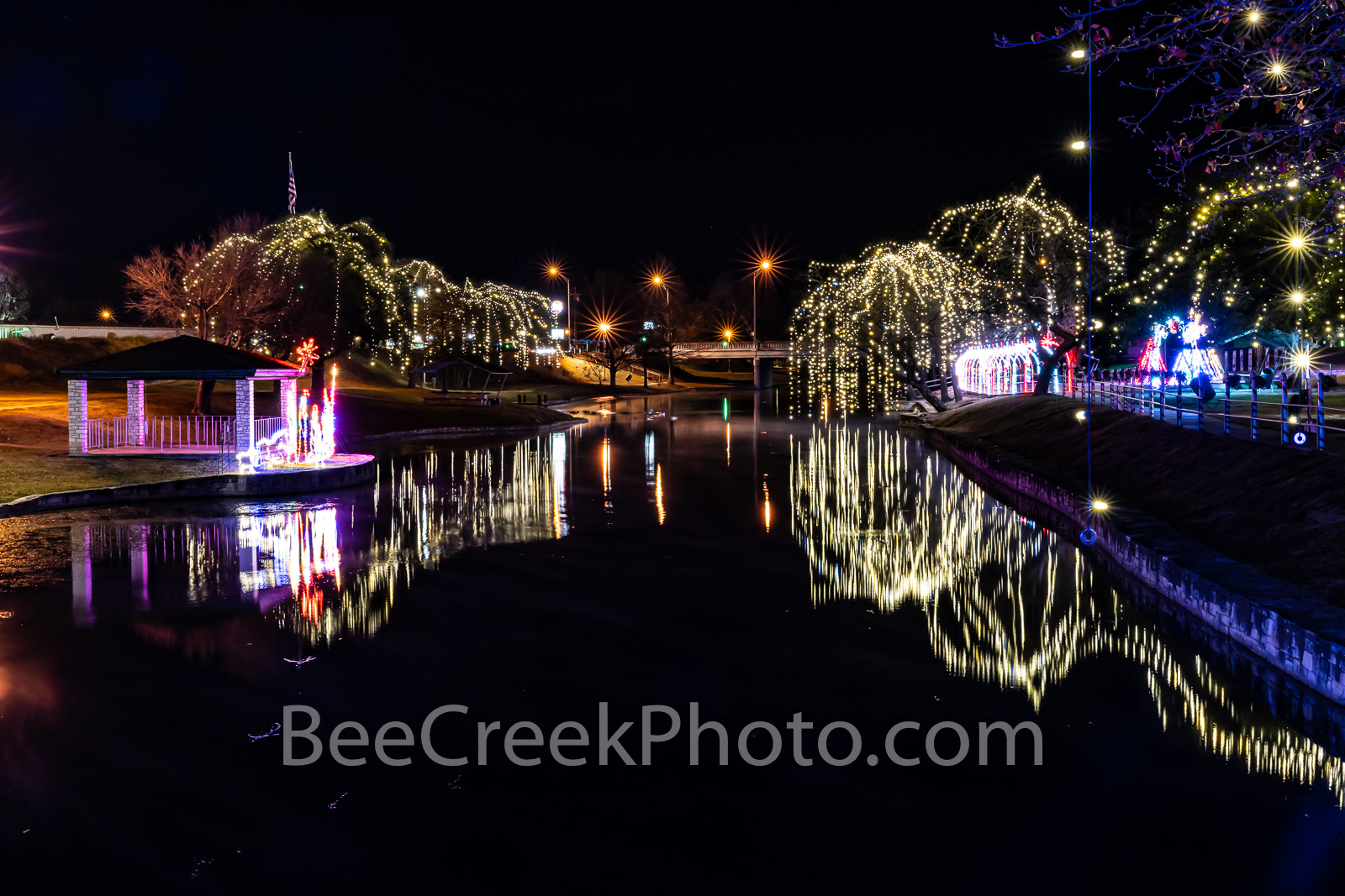 lampasas texas, christmas, texas christmas, river park, trees, dripping lights, reflections, holiday, lights, manger, holiday lights, christmas decor, , photo