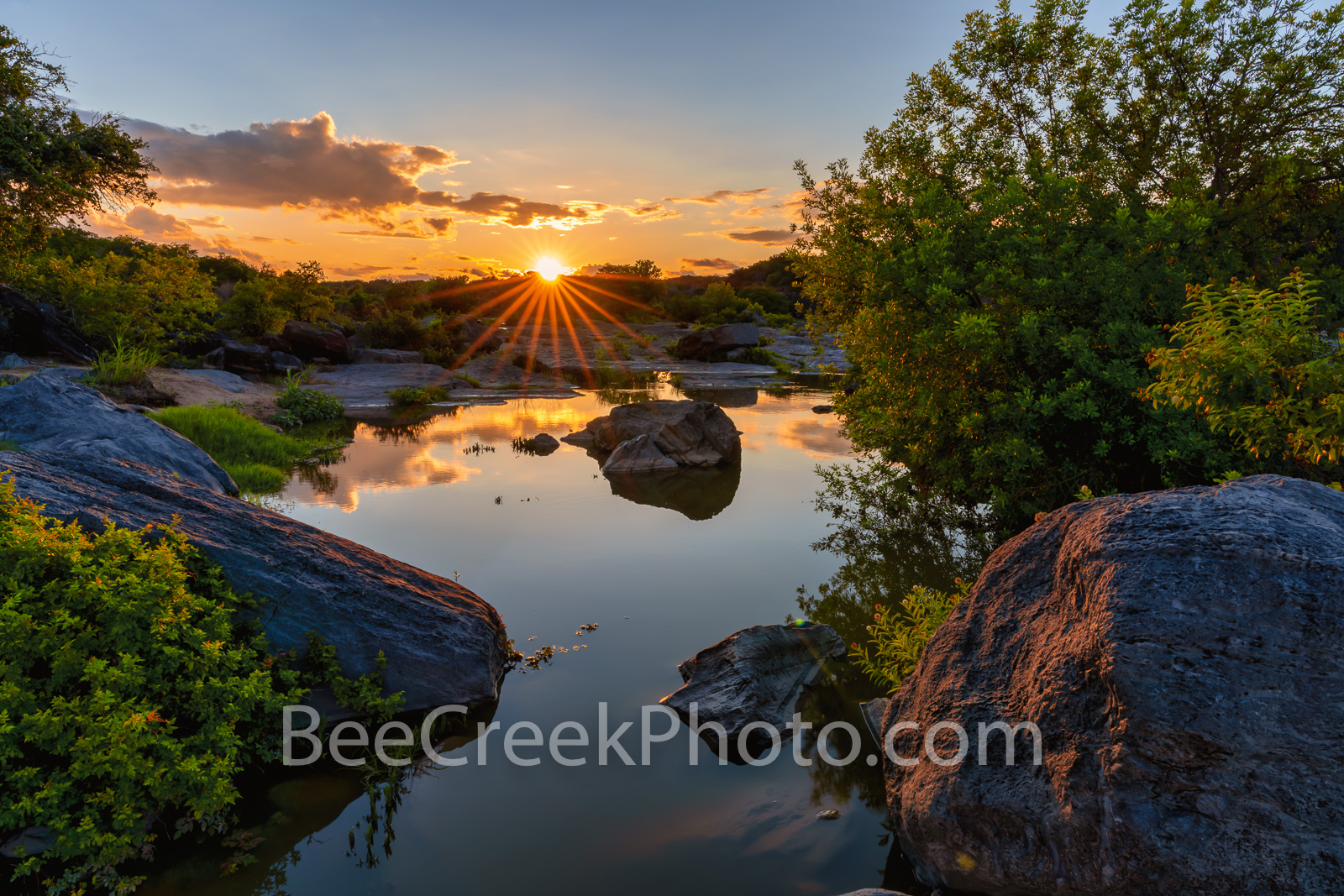 Last Light Over Pedernales River - Pedernales State Park is a large park in the Texas hill country, so as you walk along you...
