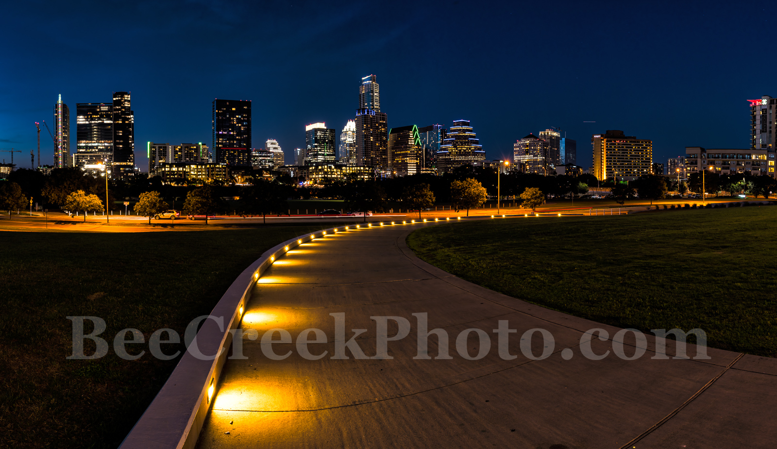 Austin, Skyline, night, downtown, cityscape, path, lights, walkway, high rise, skycrapers, Lady Bird Lake, Frost, Austonian, pano, panorama, Independence, modern, urban,Long Center, events, images fro, photo