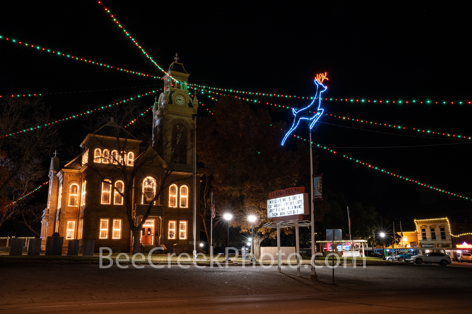 Llano County Courthouse Christmas  - We captured this of the Llano Country Courthouse with their christmas decoration . The windows...