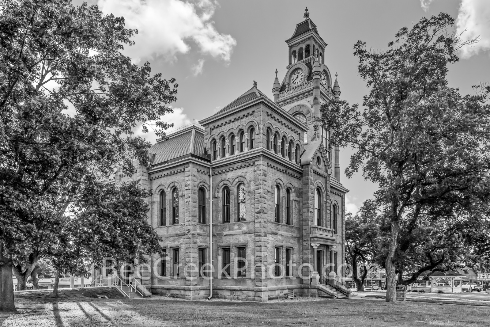 Llano County Courthouse Side View BW  - We captured this of the Llano Country Courthouse in the late afternoon in black and white...
