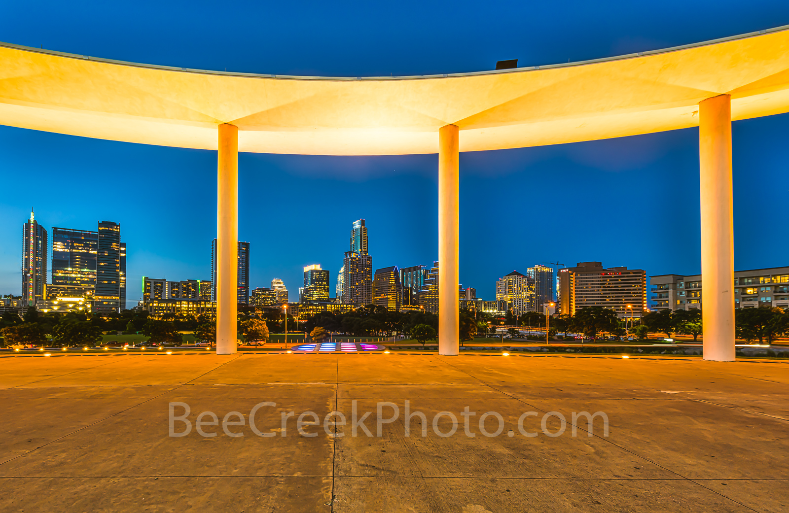 austin, skyline,  long center, cityscape, downtown, high rises, skyscrapers, city, frost, austonian, 360 condos, twilight, blue hour, , photo