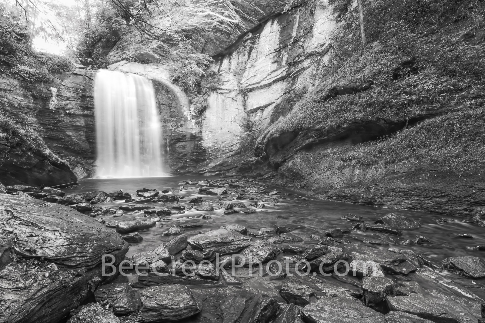 looking glass falls, waterfalls, waterfall, falls, stream, rocks, slate, granite, geology, looking glass rock, b w, black and white, creek, pisgah national forest, smoky national forest, smokies, nort, photo