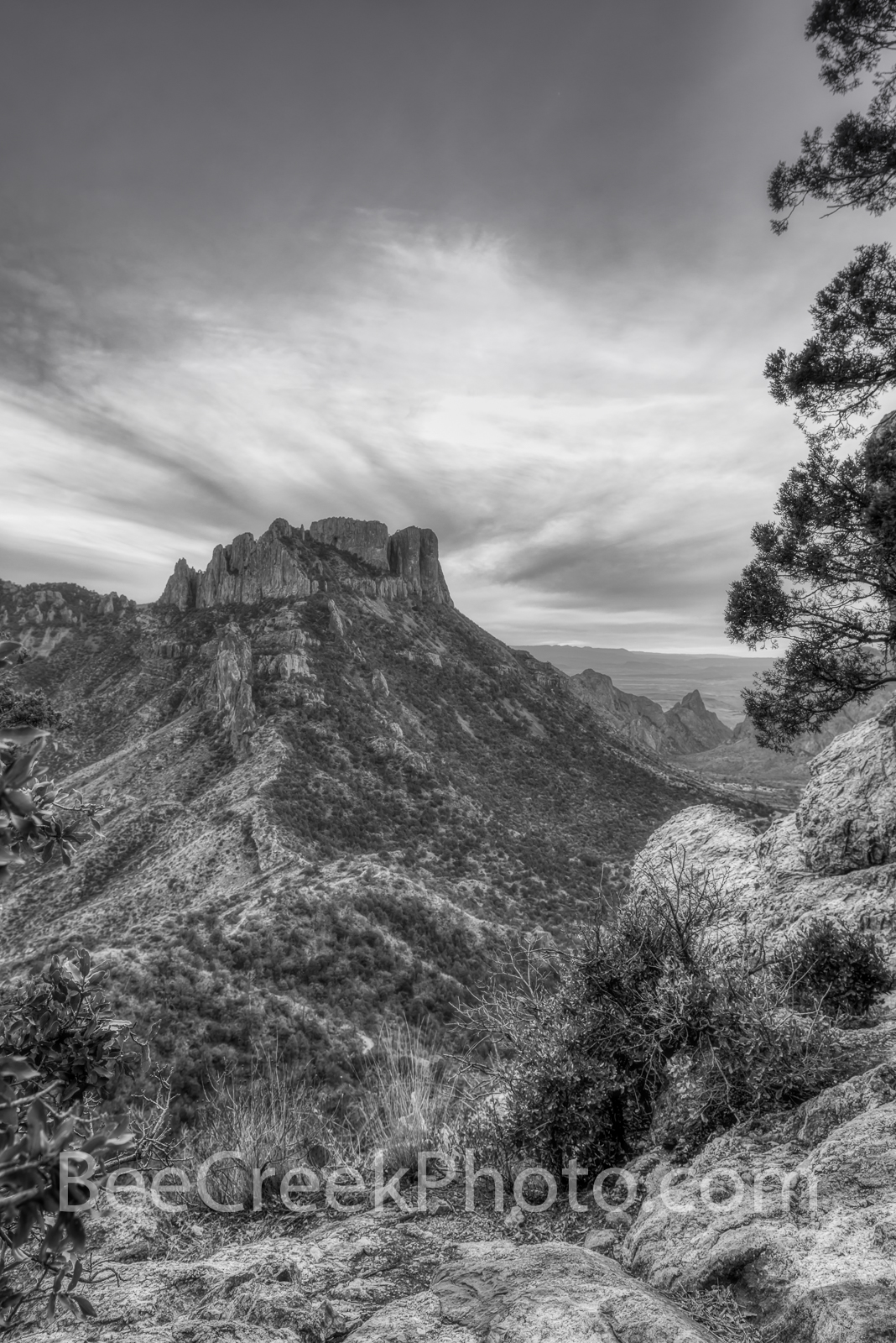 Big Bend National Park, Lost mine trail,black and white, bw, mountains, scenic, vista, colorful skys,Travel, Leisure, vacation, tourism, lifestyle, Texas, west texas, desert, nature, , photo