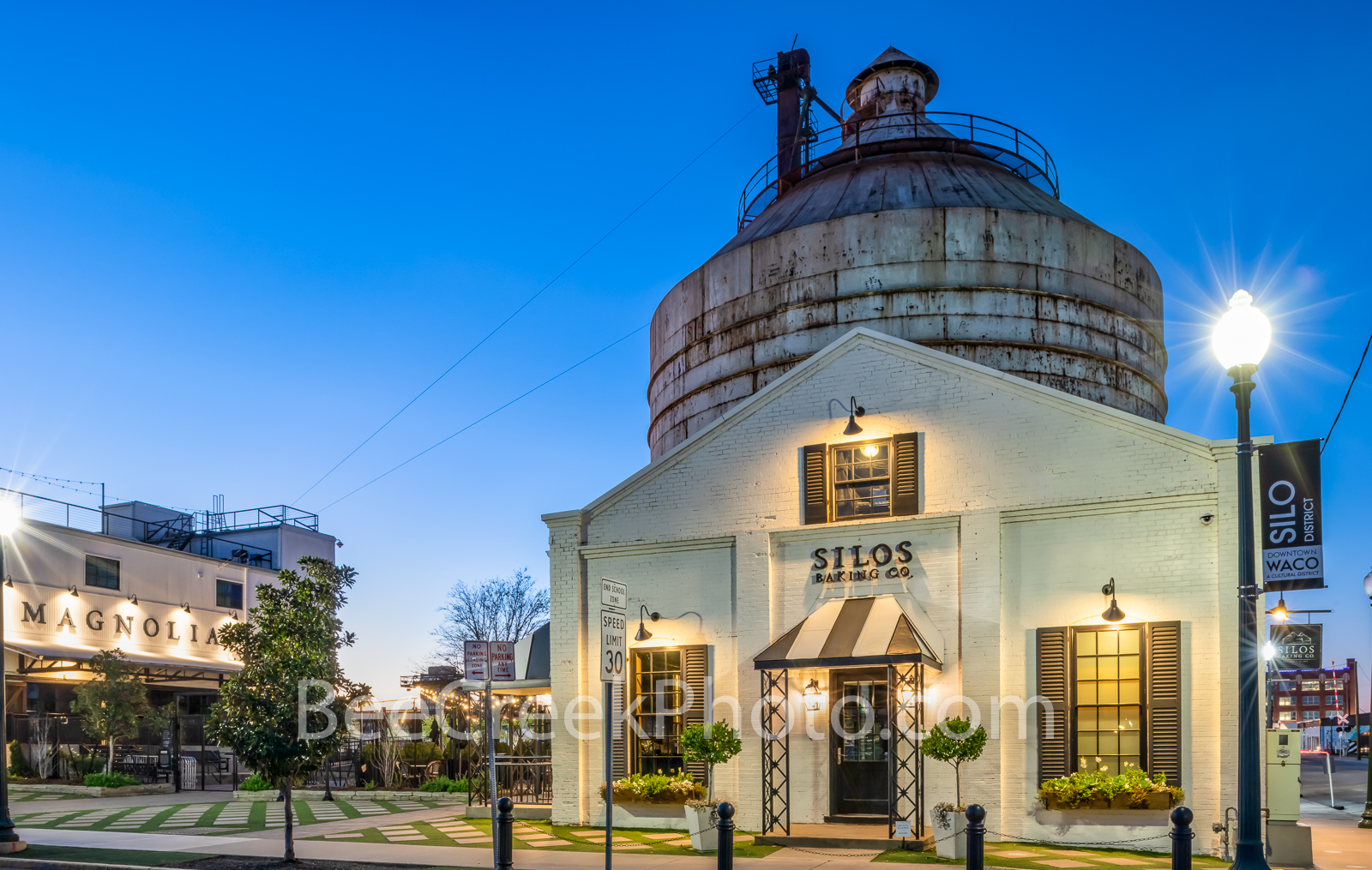 Magnolia Market with Silos Twilight - We capture this image of the Magnolia Market with the two silos in the background right...