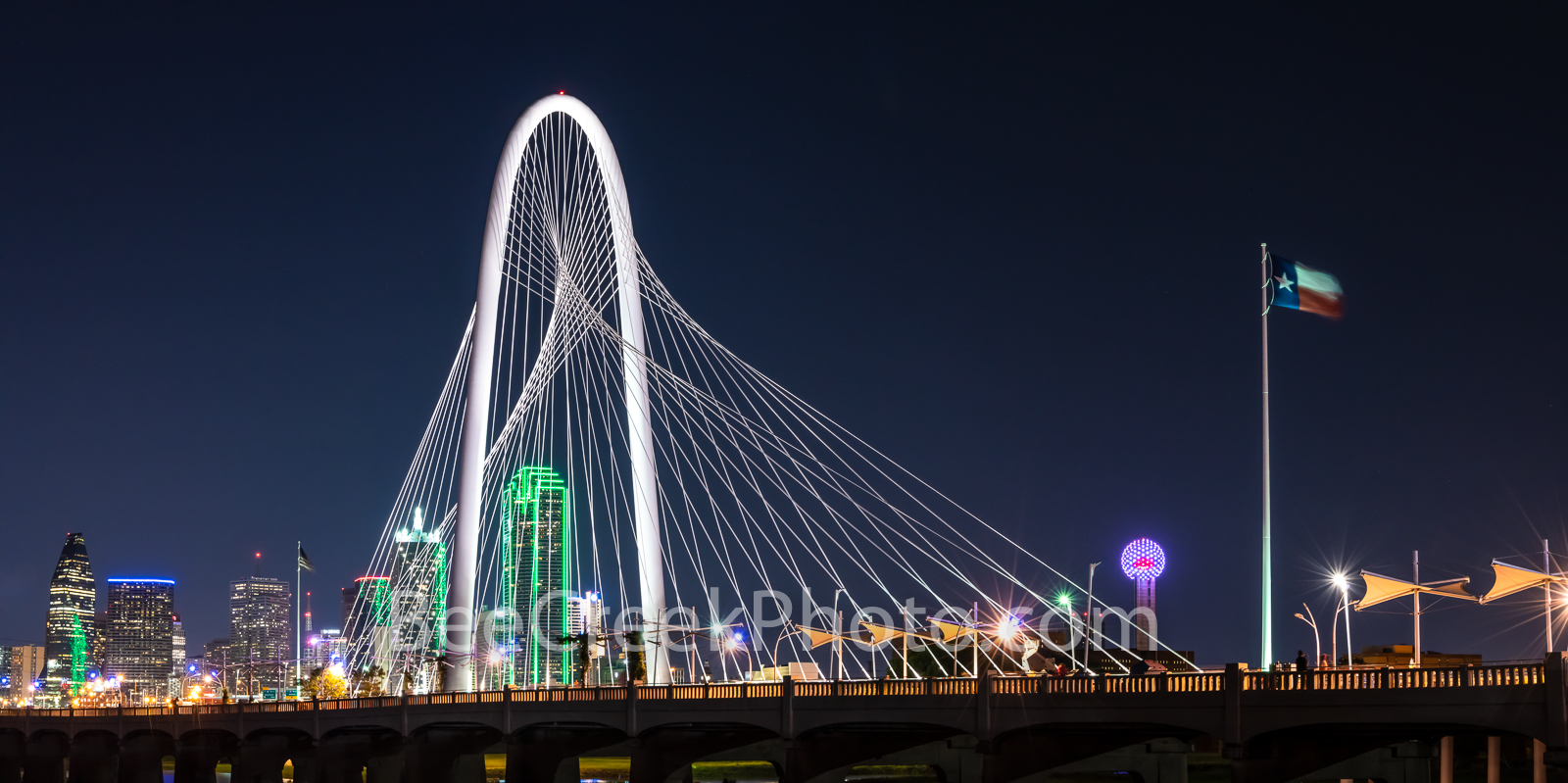 Margaret Hunt Hill Bridge, night, dallas skyline, Dallas pictures, continental bridge, ron kirk bridge, hunt hill bridge, pedestrian bridge, Reunion Tower, bank of america, image of dallas, dallas pho