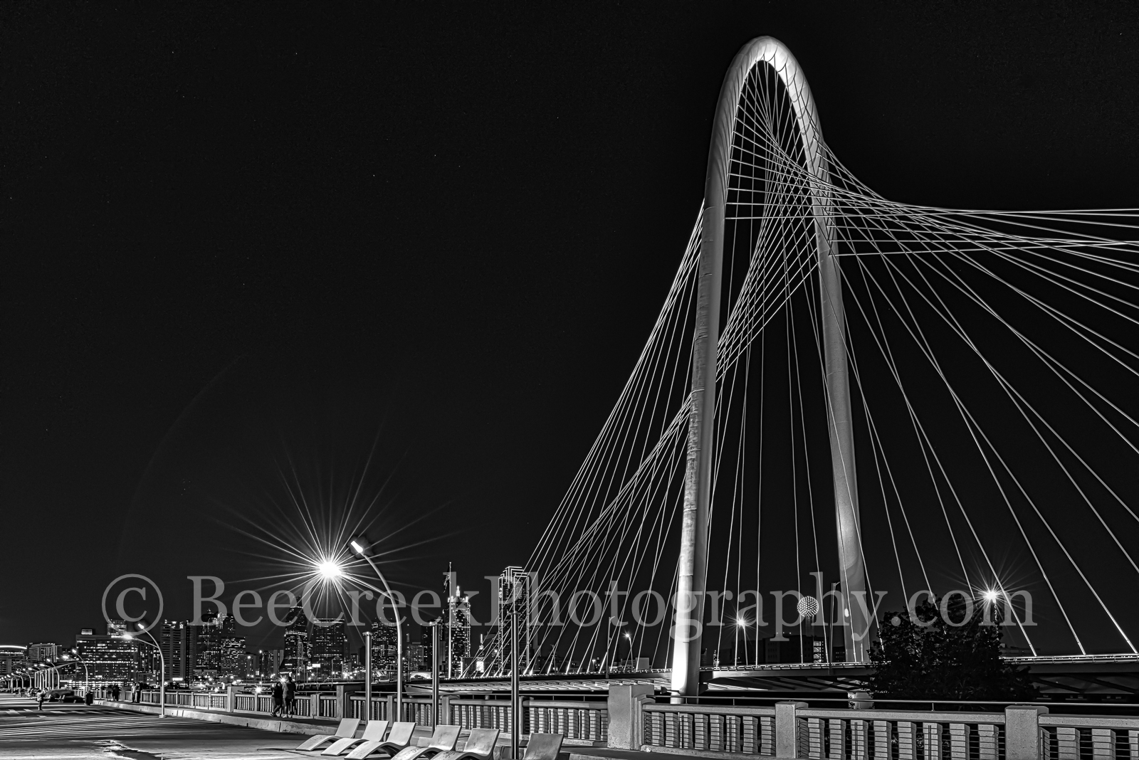 Margaret Hunt Hill Bridge BW-We captured this BW photo of the Margaret Hunt Hill Bridge over the Trinity River in...