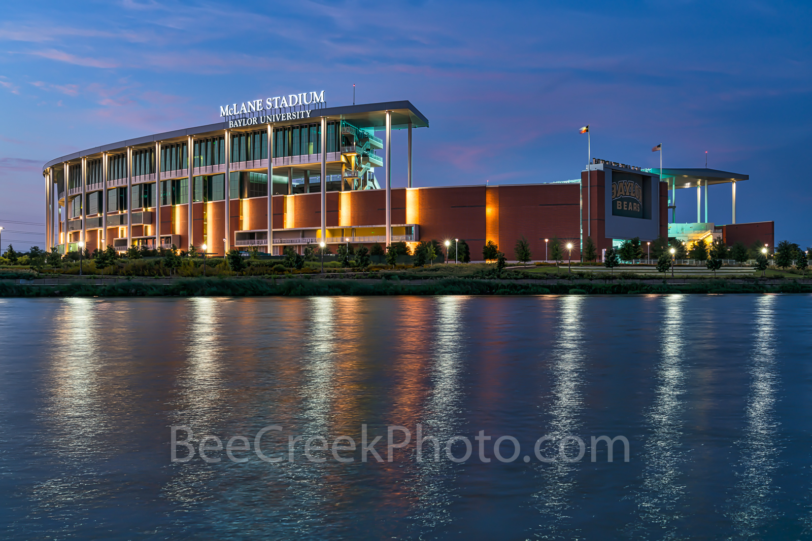 Waco, sunset, McLane Stadium, Baylor University, dusk, blue hour, Baylor Bears, stadium , University of Baylor, school, Brazos river,, photo