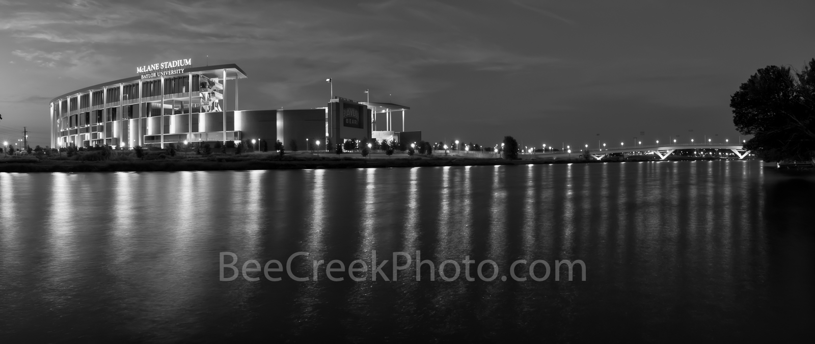 Waco, sunset, BW, black and white, McLane Stadium, Baylor University, dusk, blue hour, Baylor Bears, stadium , University of Baylor, school, Brazos river, pano, panorama, black and white, 