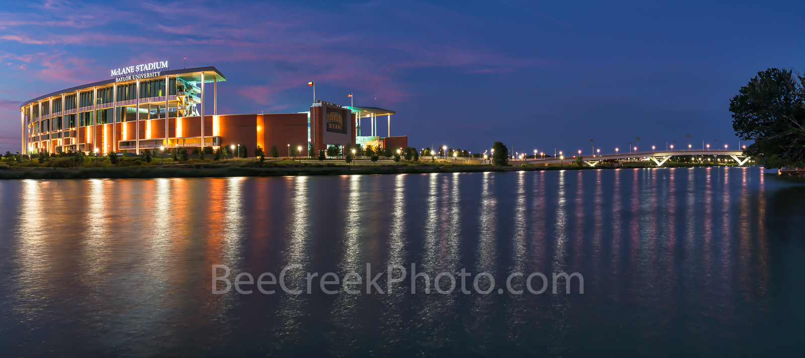 Waco, sunset, McLane Stadium, Baylor University, dusk, blue hour, Baylor Bears, stadium , University of Baylor, school