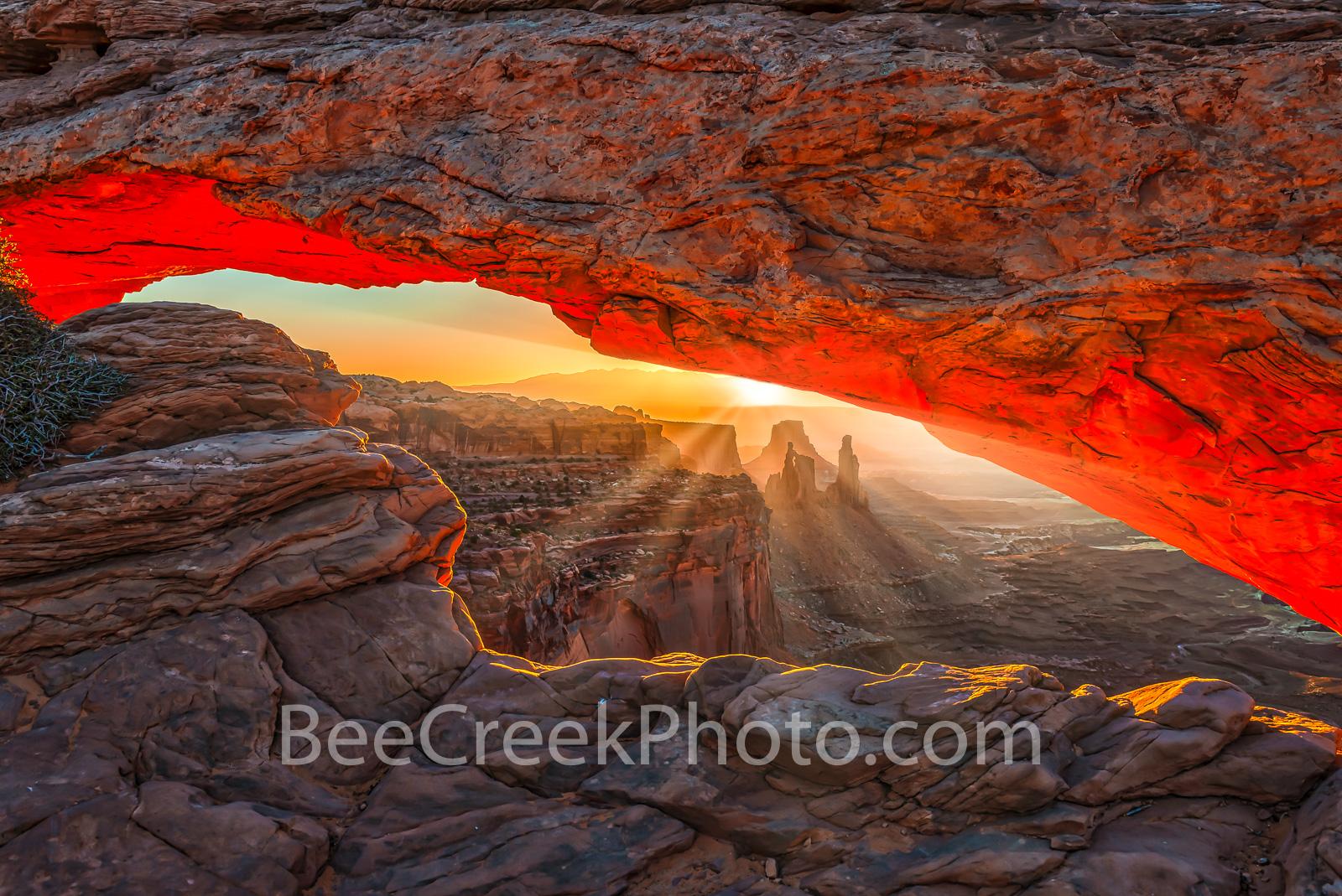 Canyonland, Mesa Arch, Mountains, National Park, Sunrise, UT, Utal, canyons, desert southwest, geologic, geology, glow, landscape, landscapes, red, rocks, rocky, scenic, view, window, photo