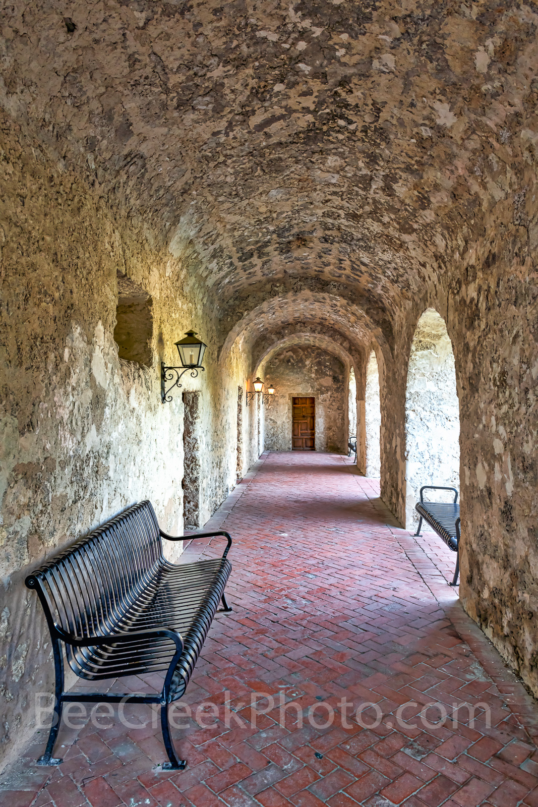 Mission Concepcion, breezeway, hall way, rock, brick, architecture, church, San Antonio Missions National Historical Park, , photo