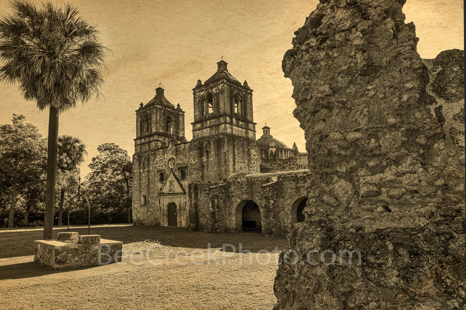 Mission Concepcion Vintage - This is another view of Mission Concepción in a vintage look in downtown San Antonio. The...
