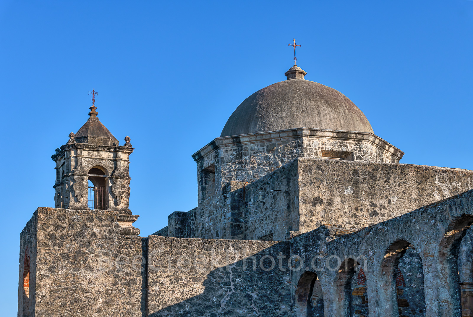 Mission San Jose Dome - MIssion San Jose dome and steeple at the San Antonio Missions National Historical Park. An active...