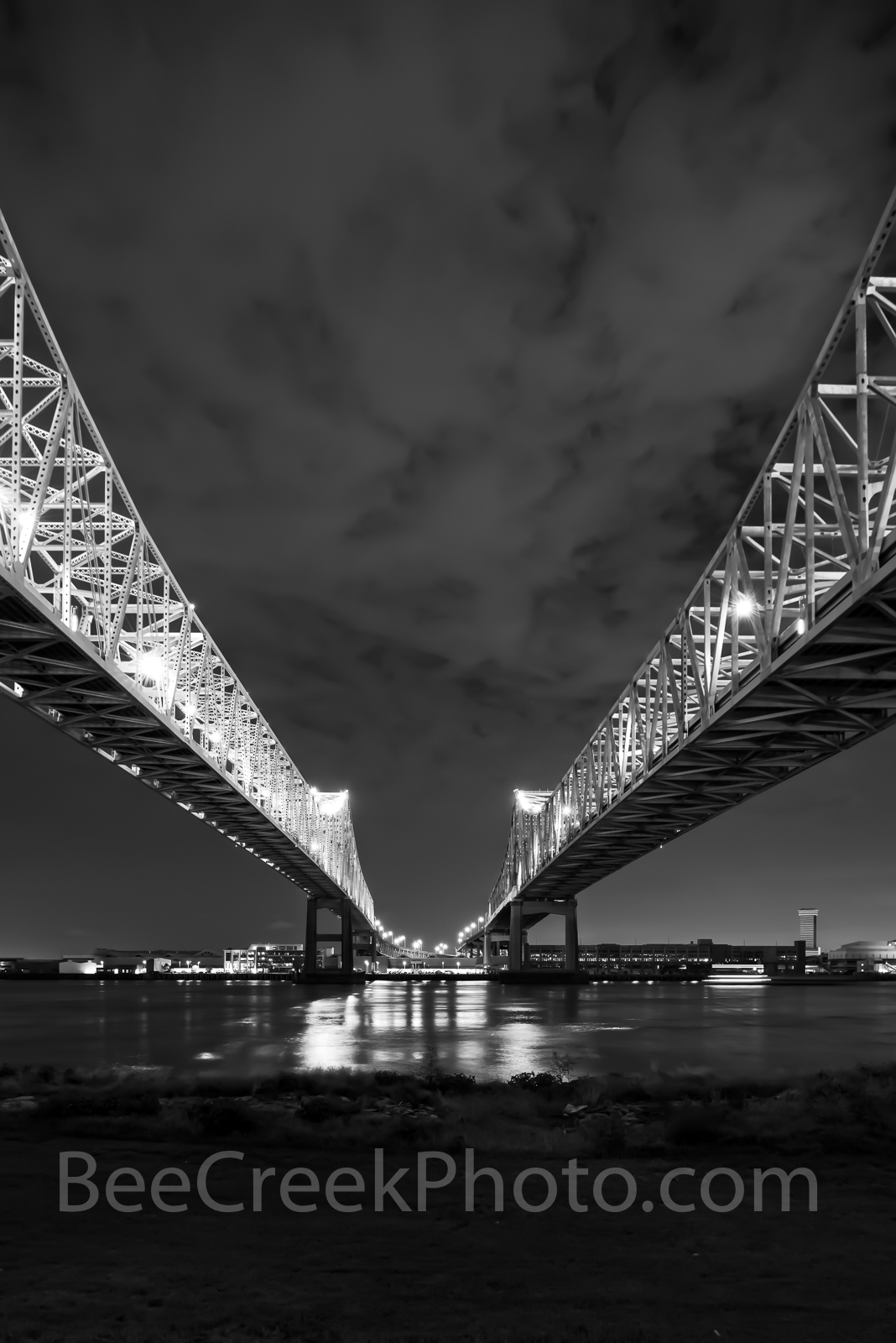 New Orleans, mississippi, river bridges, double bridges, night, reflections, cityscape, cityscapes, urban, lights, water, verticle,, photo