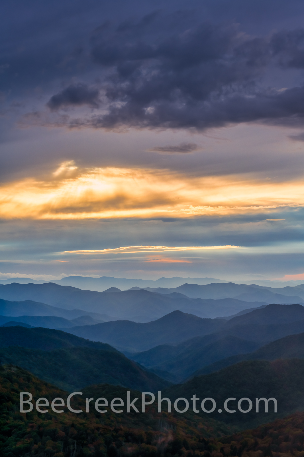 blue ridge, blueridge, blue ridge mountains, smoky mountains, overlook, sunset, color, colors, painterly, blue, purples, yellow, pink, ridges, valley, clouds, moody, vertical, tennesses, north carolin, photo