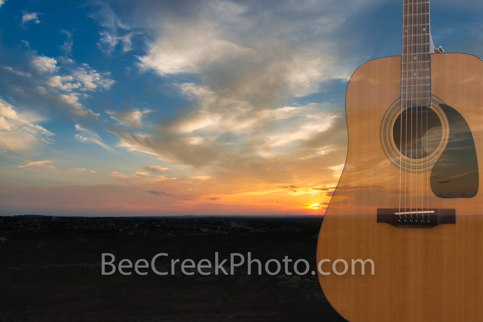 Moody Sunset Tunes - Nothing say romance like a beautiful sunset with some soothing music. This composite of a guitar with the...