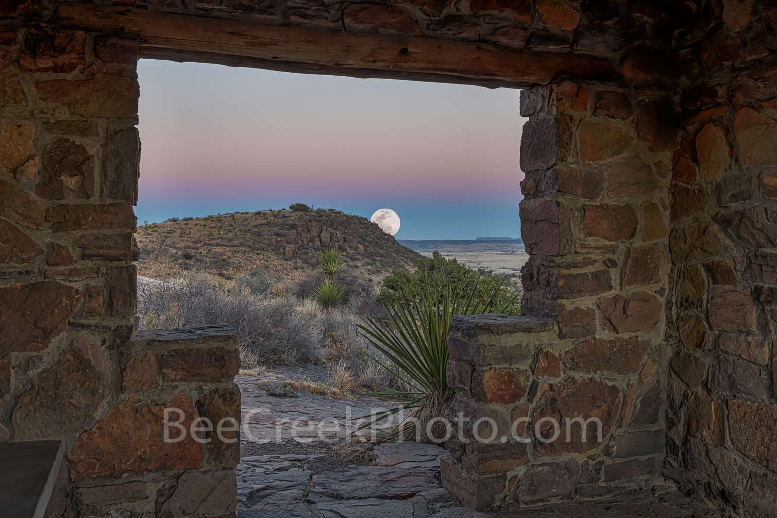 Davis mountain State Park, moon rise, rock building overlook, blue hour, violet colors, Fort Davis, overlook, landscape, Texas,  Fort Davis, west texas, , photo