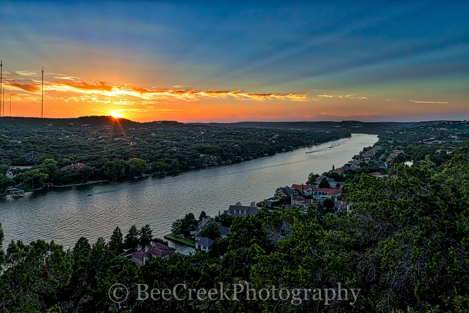 Mount Bonnell, Mount Bonnell at Sunset, Mt Bonnell, sunset, landscape, austin landscape, Texas Landscape, Austin, Austin texas, Lake Austin, cityscape, water, Texas, urban, blue waters, hiking, scenic, photo