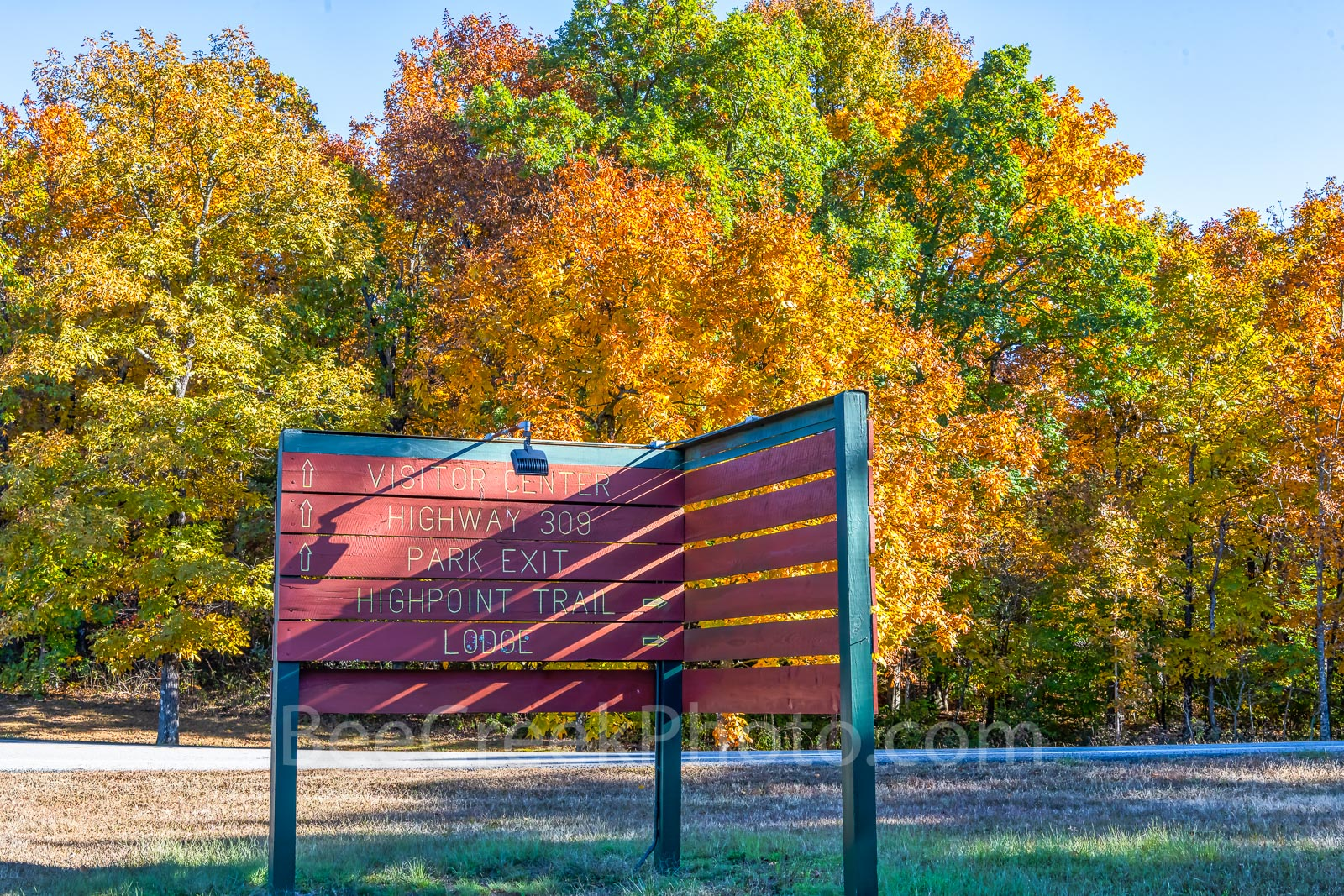 Mount Magazine Entrance - Fall at Mount Magazine entrance sign points the way for those enterering the state park in Arkansas...