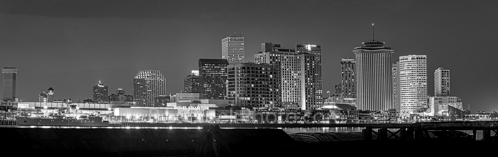 New Orleans skyline, black and white, skylines, cityscape, cityscapes, sun set, downtown, high rise, buildings, river, city, BW, panorama, pano, Mississippi river, Louisiana,, photo