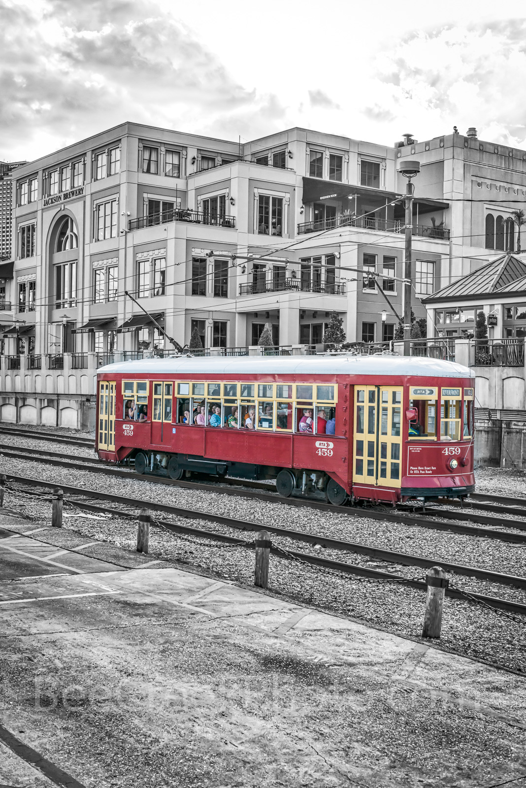 New Orleans Street Car BW - Took this image of the New Orleans red street car out side of the Jackson Brewery taking...