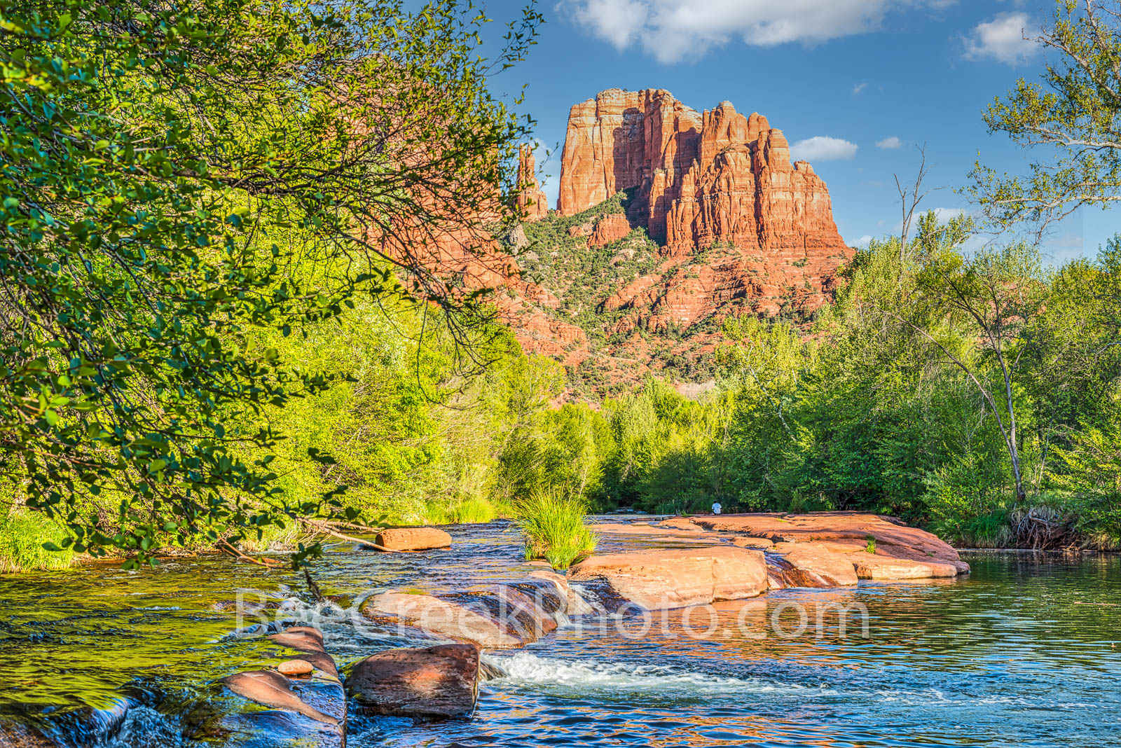 Oak Creek Crossing and Cathedral Rock  - Oak Creek with Cathedral Rock in the background as the creek flows over the red rocks...