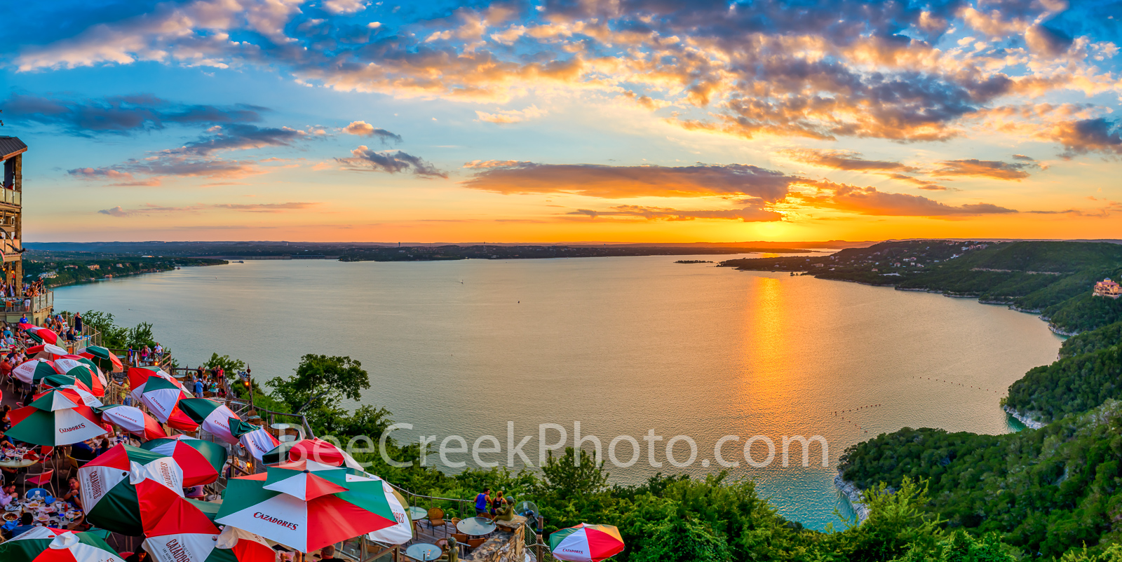 Oasis Sunset Pano 2. One more image of this wonderful sunset at the Oasis on Lake Travis.  Lake Travis is outside of Austin...
