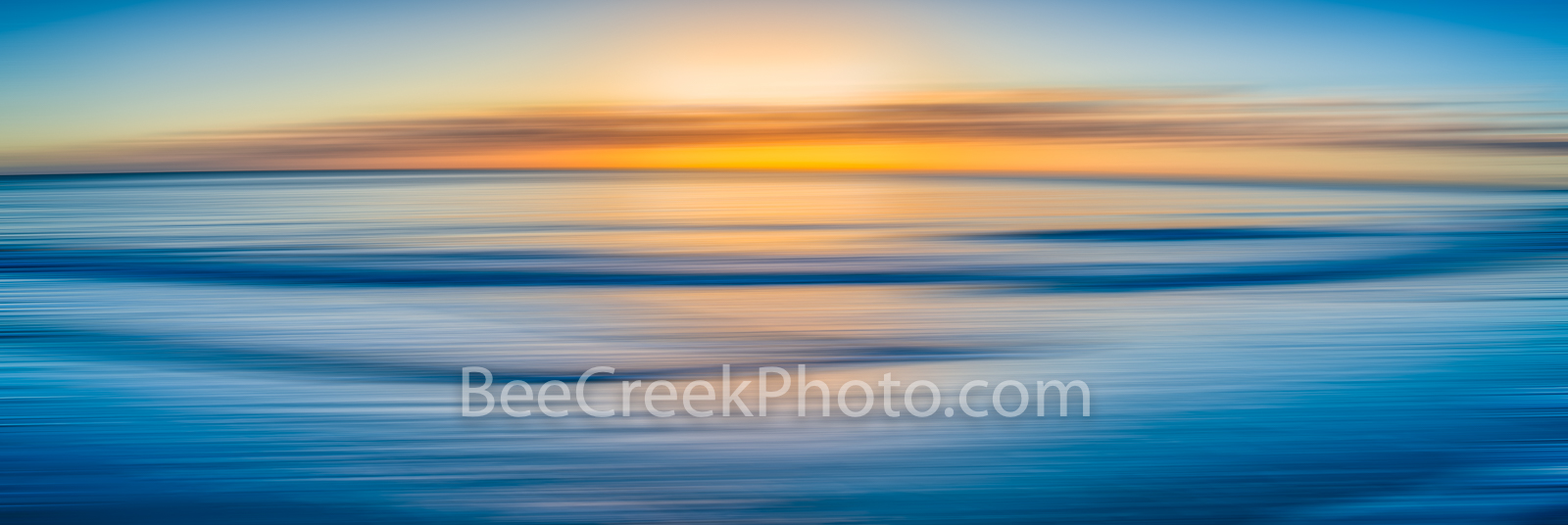 Ocean Blue Abstract Pano  - Sunrise over ocean waves as a digital abstract with this long exposure effect. We capture this image...