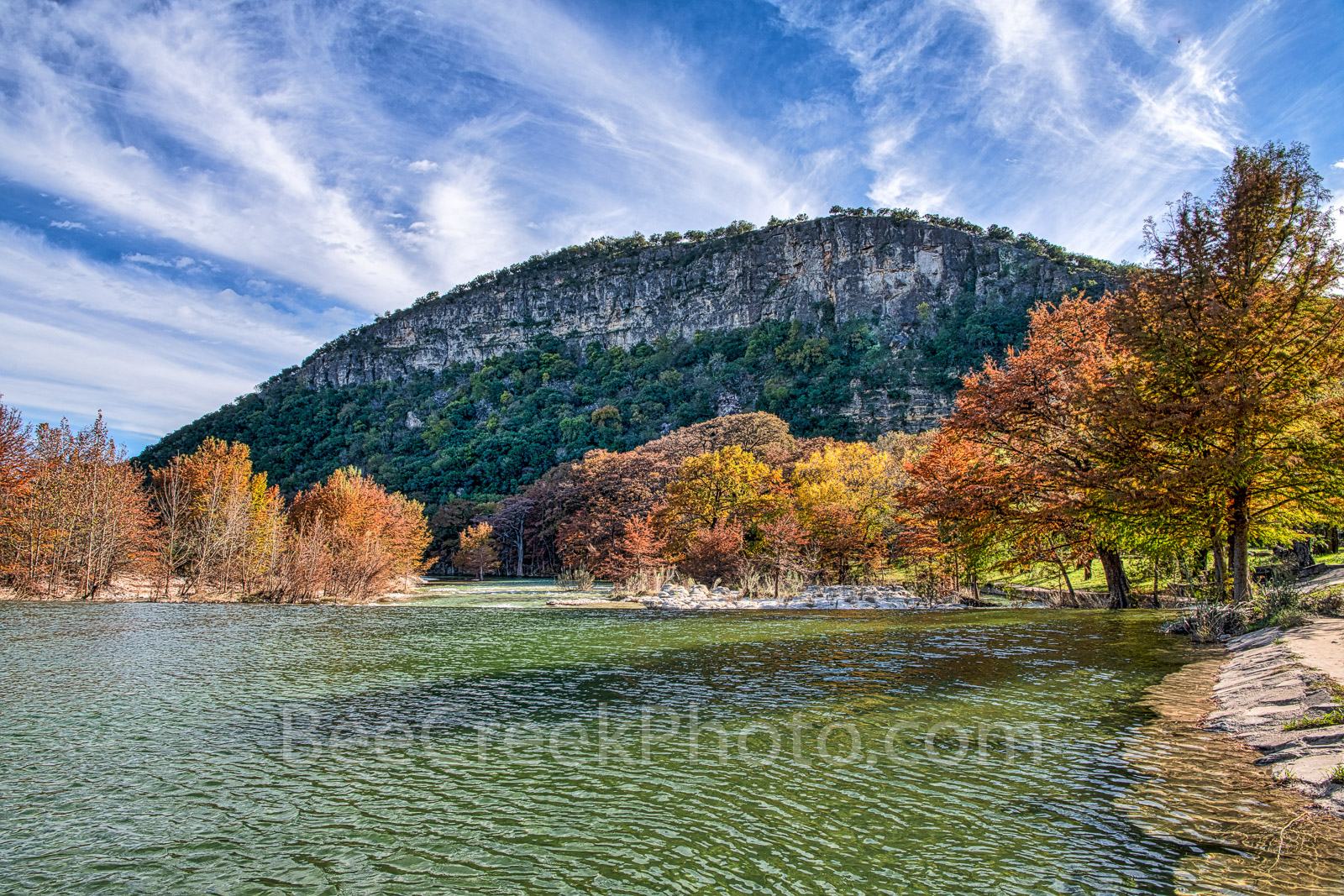 Fall, autumn, colors, Garner State Park, Texas landscape, canvas, prints, Texas hill country, trees, maples, cypress trees, old baldy, downstream, dam, rocks, fall landscapes, , photo