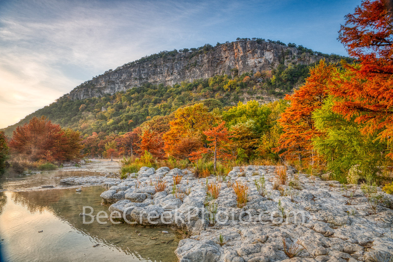 Old Baldy Fall Colors - We capture this downstream image of Old Baldy as the Frio river flows down over the rocks toward Ulvalde...