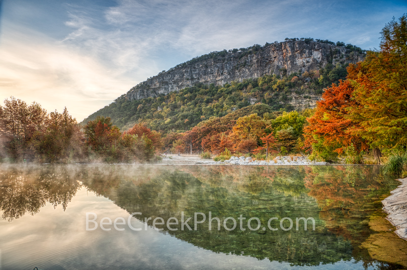 old baldy, mist, steam, frio river, river, bald cypress, orange, sycamore trees, garner, garner state park, texas hill country, hill country, emerald water, water, texas, , photo