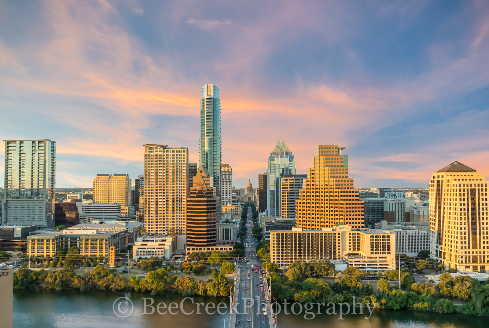 Austin, Congress, Texas, over austin, congress bridge, Lady bird lake, sunset, dusk, high rise, glow, downtown, urban, skyline, cityscape, capital, capitol, aerial, drone, phototgraphy, bee creek phot, photo