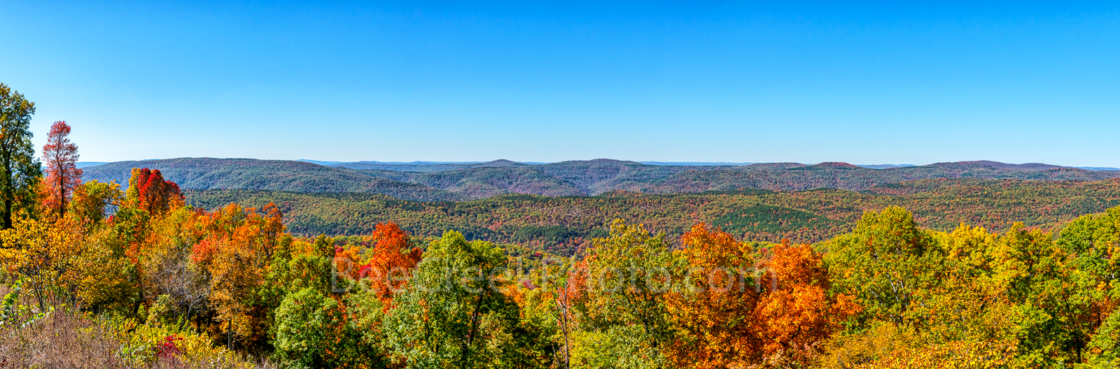 Ozarks in Fall Panorama - The mountain of the Ozarks were alive with color this year. It was so colorful here with all the trees...