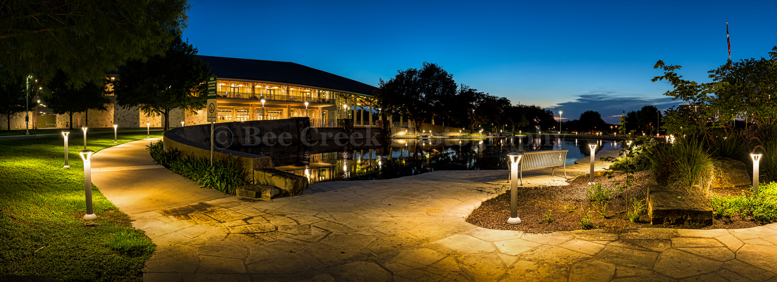 Austin, Long Center, Palmer Event Center, dusk, night, water feature, pool, path, lit, downtown, Austin, lights, reflections, architecture, buildings, pano, panorama,, photo