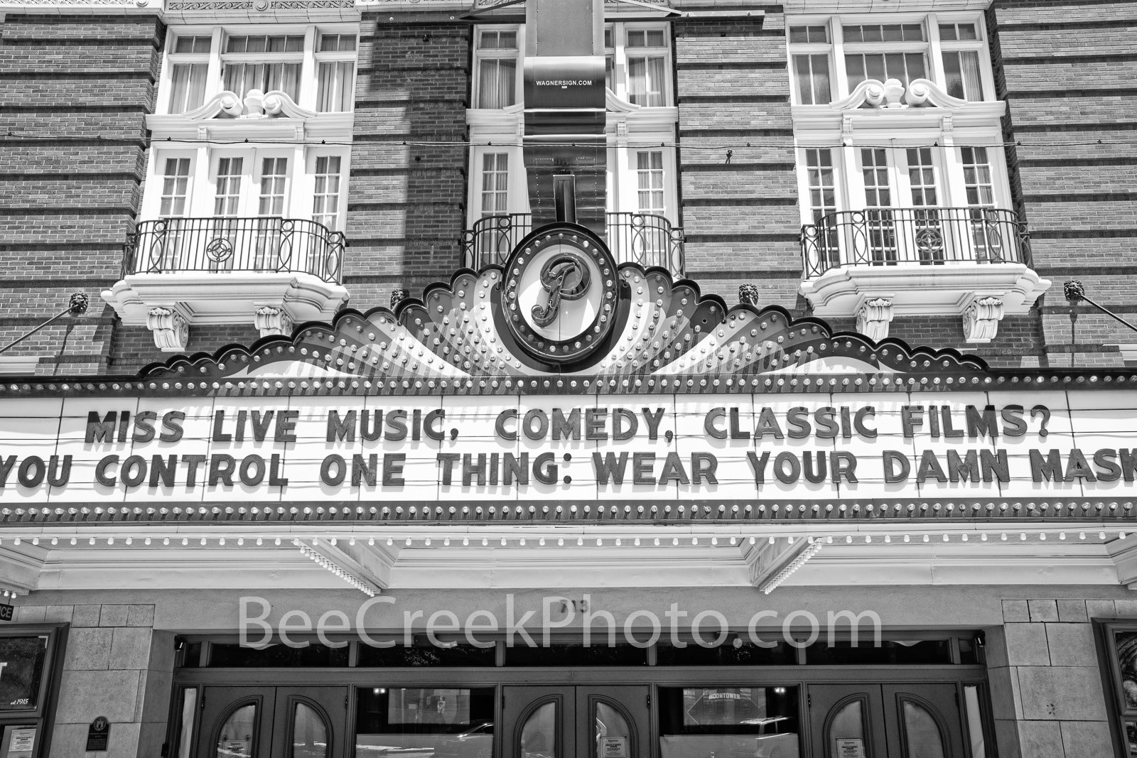 Paramount Theatre Marquee BW 2 - This the Paramount Theatre which is a live theatre venue/movie theatre located in downtown Austin...