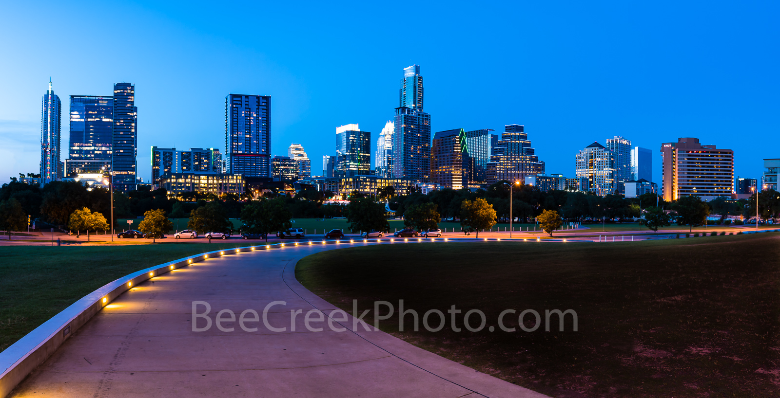 Austin Skyline, Path to Austin Skyline Pano, blue light, night, downtown, cityscape, path, lights, walkway, high rise, skycrapers, Long Center, Lady Bird Lake, Frost, Austonian, pano, panorama, Indepe, photo