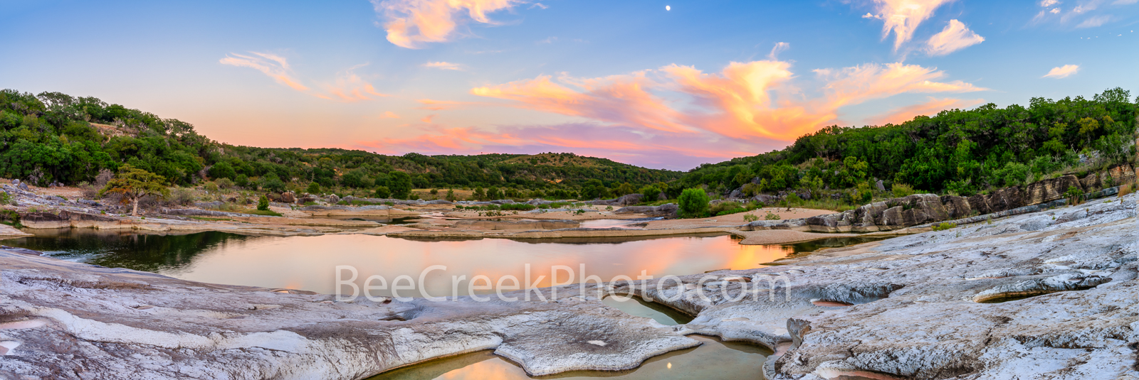 Pedernales Falls Sunset Reflections Pano -  We made a trip back to the pedernales falls state park and found this reflecting...