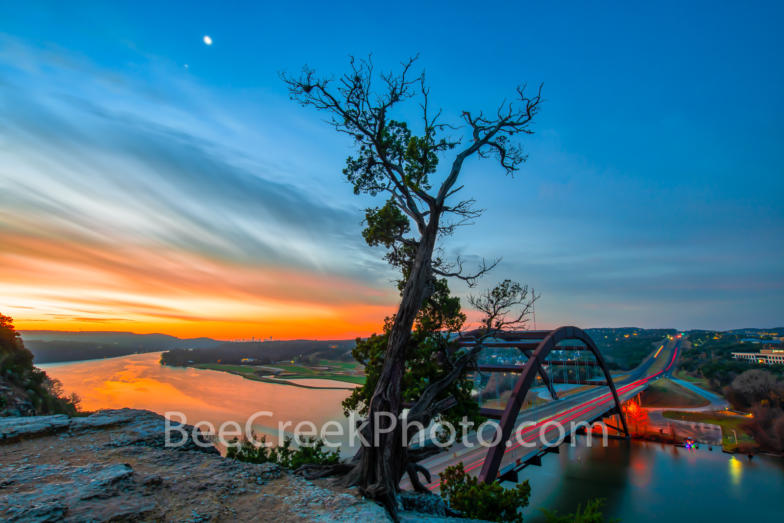 Sunrise at Austin 360 Bridge,sunrise, 360 bridge, Pennybacker bridge, Austin Pennybacker Bridge, Austin, Lake Austin,  sunrise glow, orange, landmark, tourist, photo, visitors, scenic, Texas Hill coun, photo