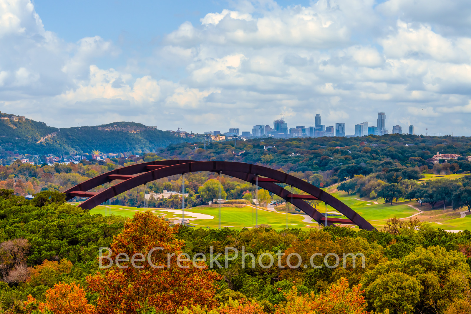 Pennybacker Bridge Autumn -  We capture this photo of the Austin downtown in the background with the Pennybacker Bridge or 360...